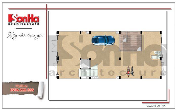 Mặt bằng công năng tầng 1 khách sạn tiêu chuẩn 3 sao 7 tầng cổ điển tại Hưng Yên sh ks 0041