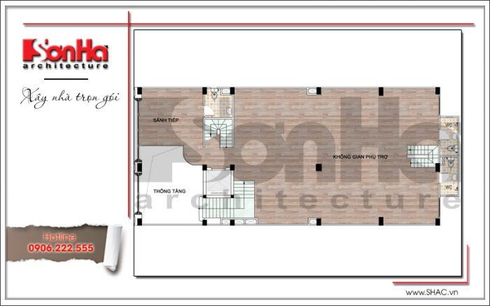 Mặt bằng công năng tầng 2 khách sạn tiêu chuẩn 3 sao 7 tầng cổ điển tại Hưng Yên sh ks 0041