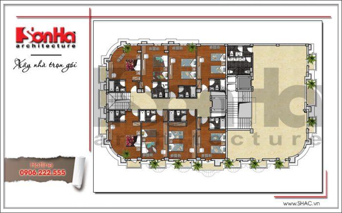 4 mặt bằng công năng tầng 2 khách sạn cổ điển sang trọng sh ks 0042