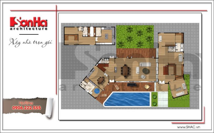 Bản vẽ công năng cho thấy quy hoạch của ngôi biệt thự hiện đại 2 tầng có bể bơi