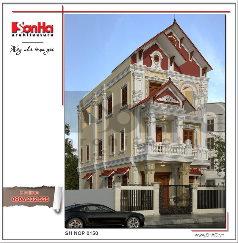 Mẫu nhà phố kiểu cổ điển Pháp đẹp bố trí công năng khoa học tại Hà Nam – SH NOP 0150 2