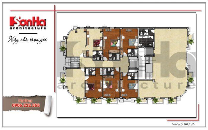 6 mặt bằng công năng tầng 7 khách sạn cổ điển sang trọng sh ks 0042