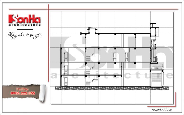 mặt cắt nhà ống cổ điển pháp sh nop 0151