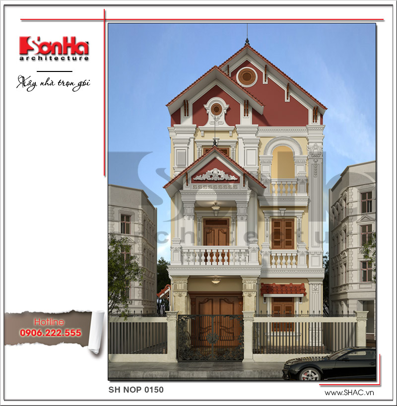 Mẫu nhà phố kiểu cổ điển Pháp đẹp bố trí công năng khoa học tại Hà Nam – SH NOP 0150 1