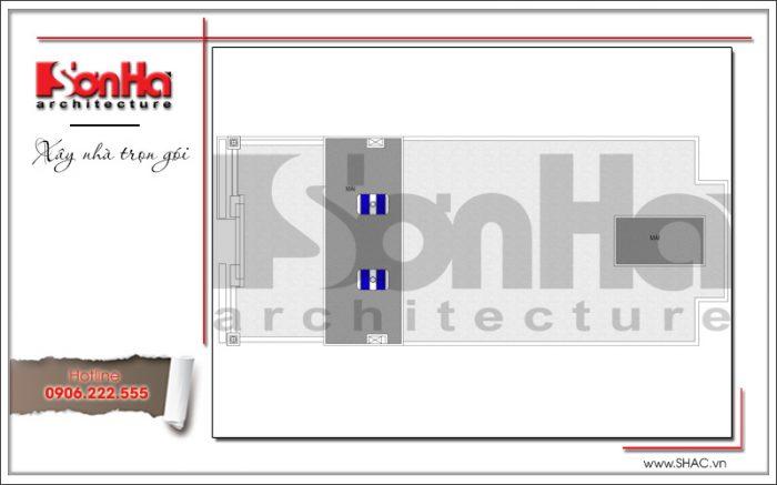 Mặt bằng công năng tầng mái khách sạn tiêu chuẩn 3 sao 7 tầng cổ điển tại Hưng Yên sh ks 0041
