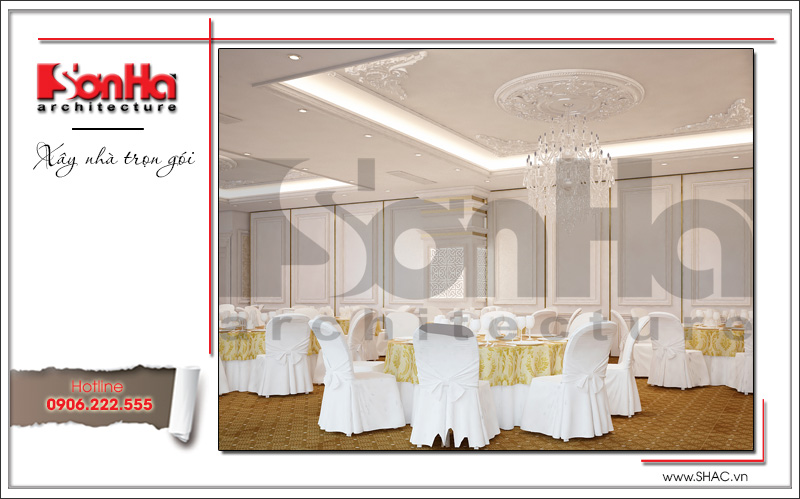 Thiết kế nội thất nhà hàng tiệc cưới phong cách cổ điển tại TD Plaza Hải Phòng - BCK 0046 9