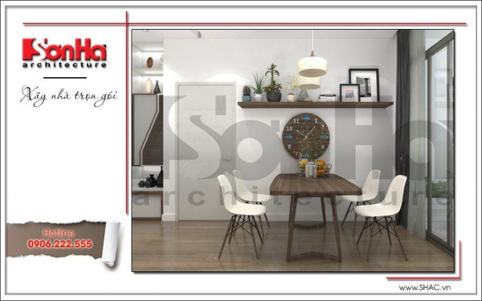 Bộ bàn ghế ăn căn hộ chung cư có thiết kế nội thất nhỏ xinh đủ dùng sum vầy hạnh phúc