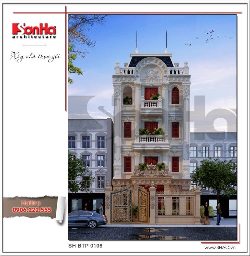 Đây cũng chính là phương án thiết kế được đánh giá cao của mẫu thiết kế biệt thự Pháp 5 tầng
