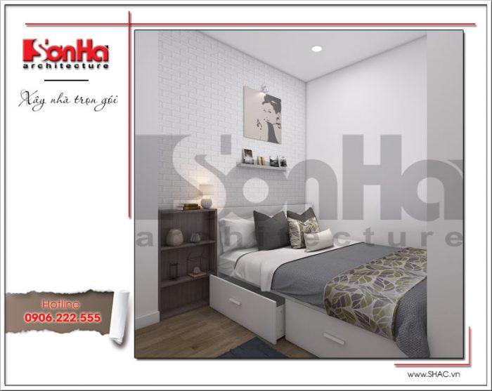 Đây là không gian phòng ngủ căn hộ dành cho người giúp việc cũng đầy đủ tiện nghi