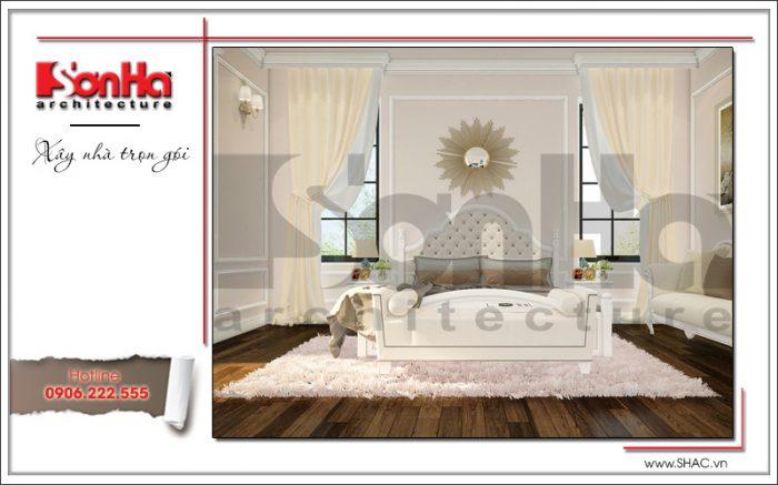 Gam màu được lựa chọn tinh tế cùng cách kết hợp các vật dụng cao cấp của phòng ngủ biệt thự