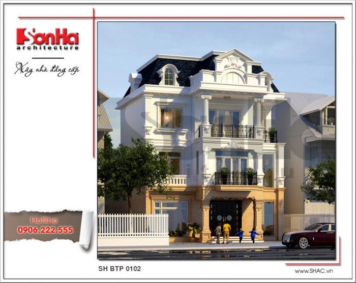 Góc view cho thấy sự tinh tế trong thiết kế và bố trí các đường nét của biệt thự cổ điển Pháp