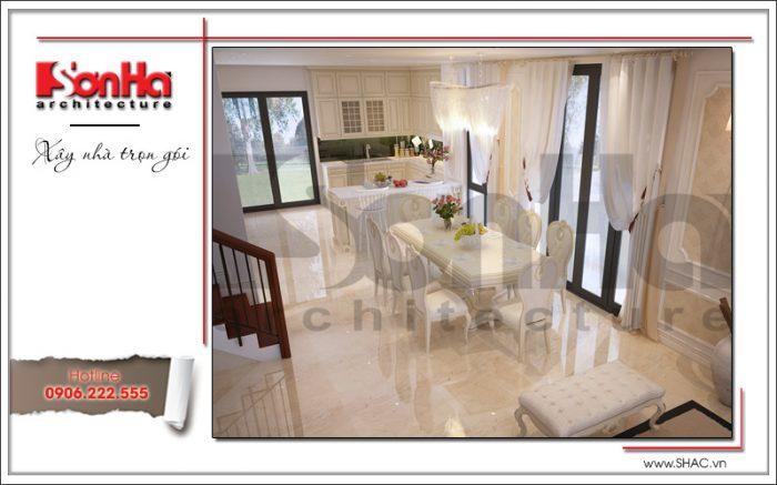hiết kế nội thất phòng ăn của biệt thự cổ điển đồng nhất về màu sắc và chất liệu cao cấp