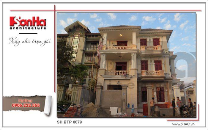 Hình ảnh thi công thực tế của ngôi biệt thự 3 tầng kiến trúc tân cổ điển sang trọng và tinh tế