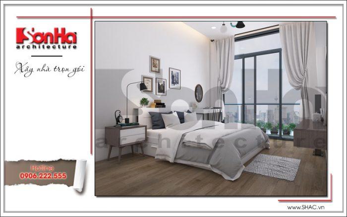 hông gian phòng ngủ bố mẹ với thiết kế nội thất hiện đại trang nhã và hết sức thoáng đãng