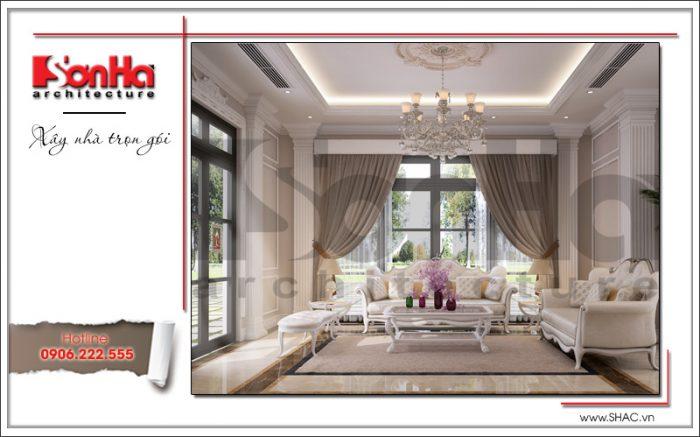 Không gian phòng khách xa hoa trang nhã với việc sử dụng màu sắc hợp thời và vật liệu cao cấp