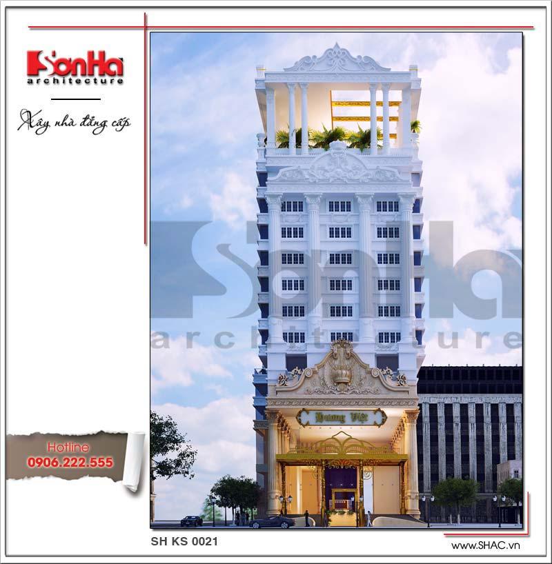 Kiến trúc mặt tiền đẹp của mẫu thiết kế khách sạn 4 sao phong cách cổ điển châu Âu thanh lịch