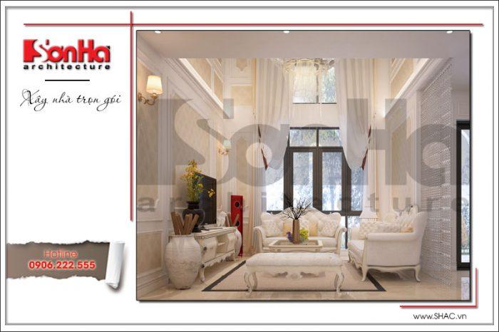 Mãn nhãn với góc view đẹp của mẫu nội thất phòng khách biệt thự cổ điển 3 tầng tại Hà Nội