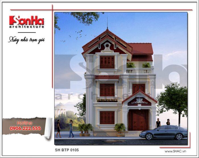 Mẫu thiết kế biệt thự Pháp 3 tầng cổ điển tại Hải Phòng nổi bật bởi hệ mái ngói đỏ tinh tế