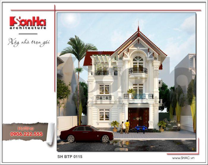 Mẫu thiết kế biệt thự tân cổ điển 3 tầng mái ngói đỏ khang trang ấn tượng được đánh giá cao