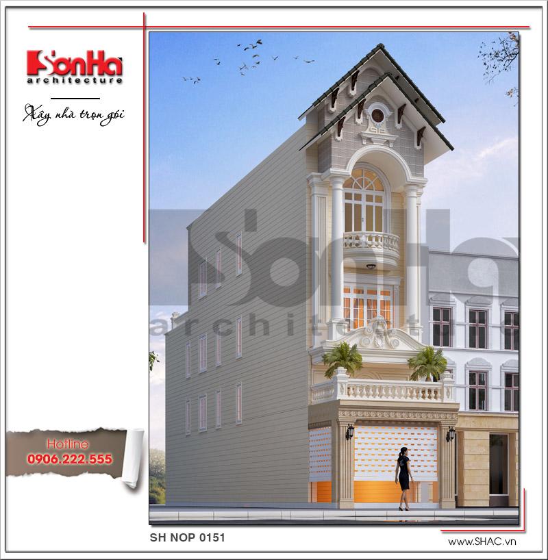 Mẫu thiết kế nhà phố kiến trúc cổ điển mặt tiền 5m tại Hải Dương - SH NOP 0151 2