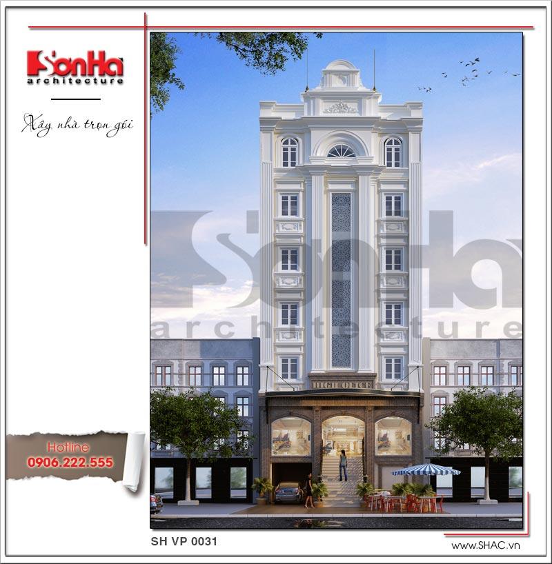 Mẫu thiết kế tòa nhà văn phòng kiến trúc cổ điển 6 tầng đẹp tại Sài Gòn điển hình xu hướng 2018