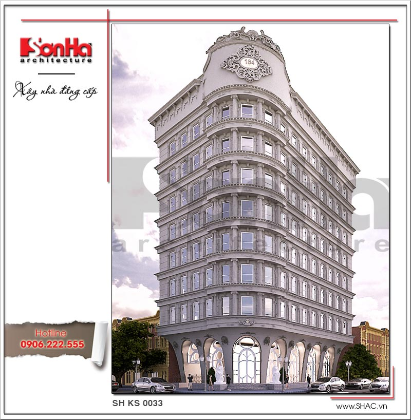 Phương án thiết kế kiến trúc khách sạn cổ điển Pháp 4 sao hạ gục mọi ánh nhìn người qua đường