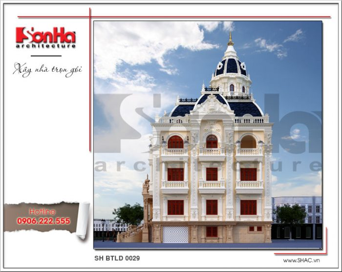 Phương án thiết kế kiến trúc mặt sau của công trình cũng sang trọng và tinh tế không kém