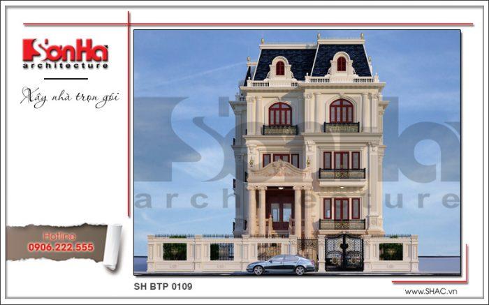 Phương án thiết kế kiến trúc mặt tiền biệt thự Pháp cổ điển tại Sài Gòn điển hình năm 2018