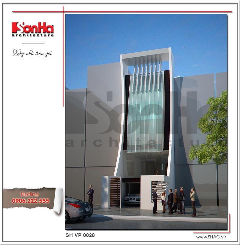 Phương án thiết kế kiến trúc tòa nhà văn phòng hiện đại 5 tầng ấn tượng của SHAC uy tín