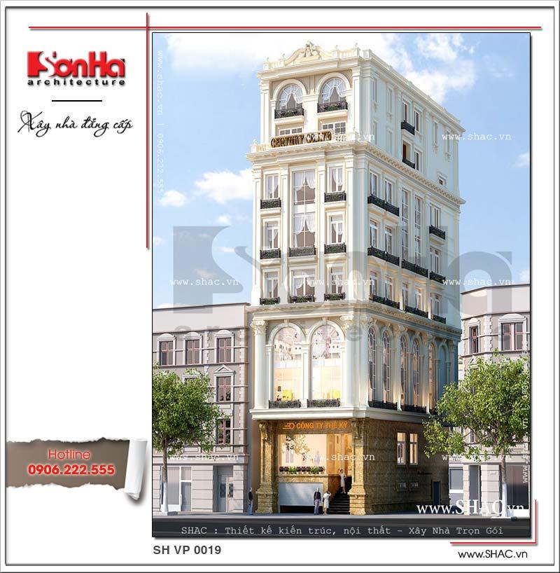 Phương án thiết kế kiến trúc và nội thất của tòa nhà văn phòng 8 tầng kiểu Pháp đẹp SHAC