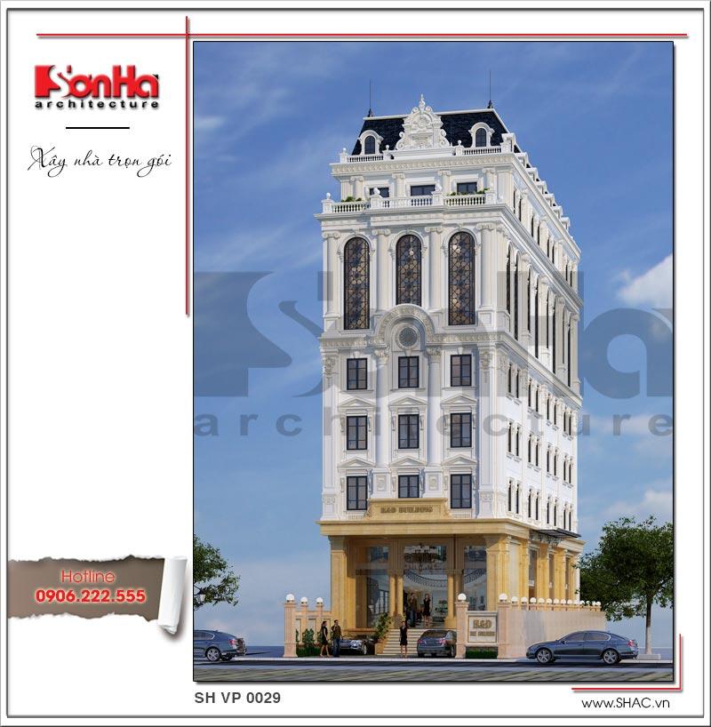 Phương án thiết kế mẫu tòa nhà văn phòng kiến trúc Pháp sang trọng được đánh giá cao của SHAC
