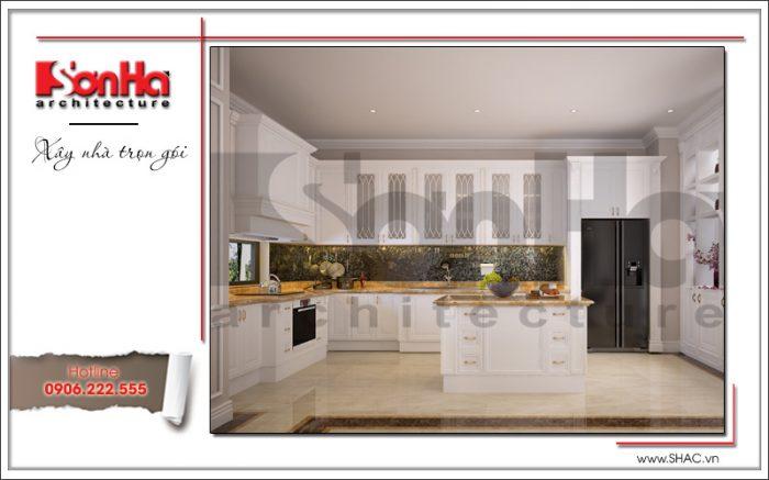 Phương án thiết kế nội thất phòng bếp ăn biệt thự cổ điển rất được CĐT đánh giá cao