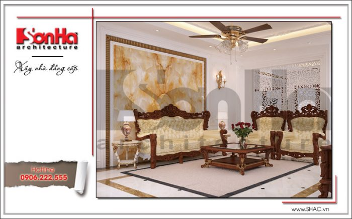 Phương án thiết kế nội thất phòng khách biệt thự xa hoa với bố trí nội thất gỗ thiết kế tinh xảo