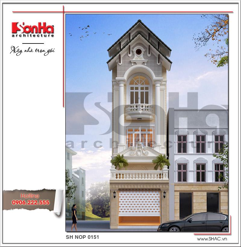 Mẫu thiết kế nhà phố kiến trúc cổ điển mặt tiền 5m tại Hải Dương - SH NOP 0151 1