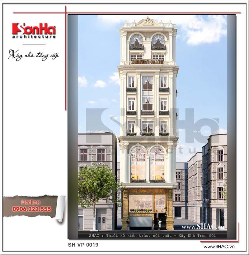 Thiết kế mặt tiền tòa nhà đẹp mắt và toát lên cốt cách sang trọng từ mọi góc đặt mắt bất kỳ