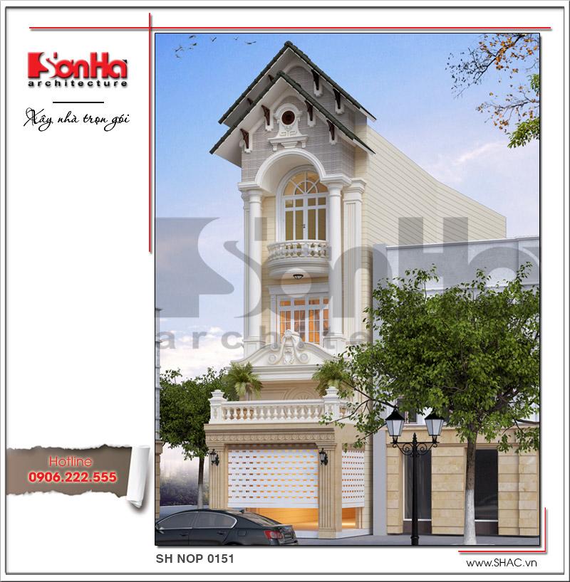 Mẫu thiết kế nhà phố kiến trúc cổ điển mặt tiền 5m tại Hải Dương - SH NOP 0151 3