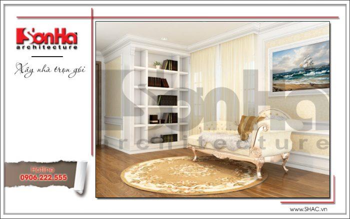 Thiết kế nội thất phòng sinh hoạt chung của biệt thự 3 tầng nhẹ nhàng mà vẫn rất sang trọng