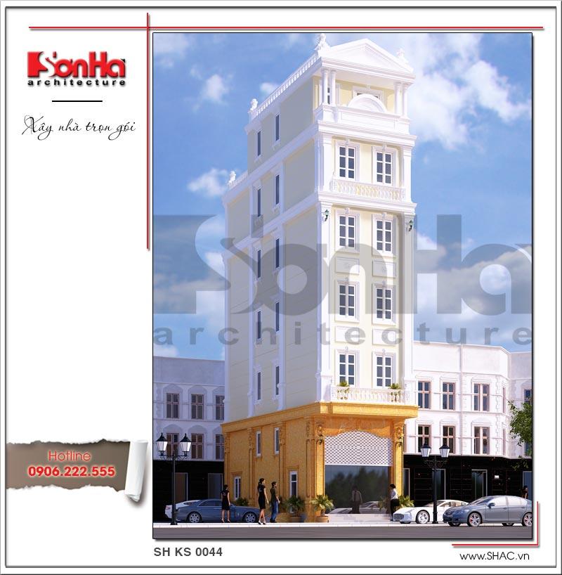 Mẫu thiết kế khách sạn mini tân cổ điển kiểu Pháp tại Quảng Ninh tiêu chuẩn 2 sao