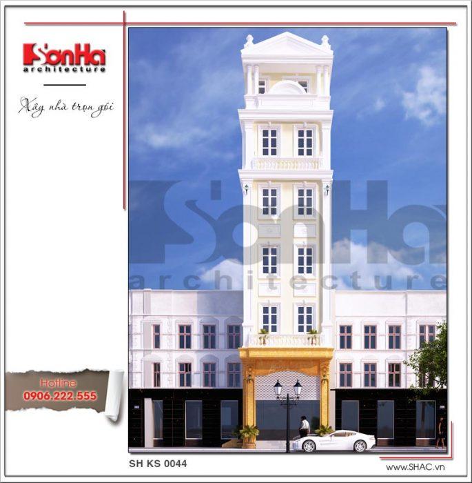 2 Mẫu kiến trúc mặt tiền khách sạn mini tại quảng ninh sh ks 0044