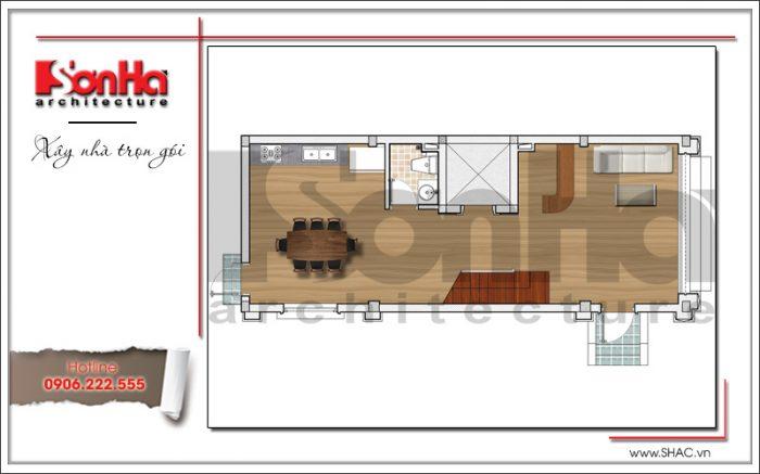 3 Mặt bằng công năng tầng 1 khách sạn mini tại quảng ninh sh ks 0044