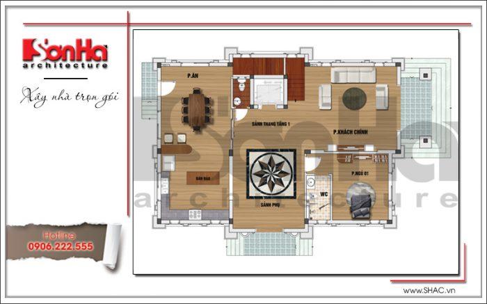 5 Mặt bằng công năng tầng 1 biệt thự tân cổ điển tại quảng ninh sh btp 0117