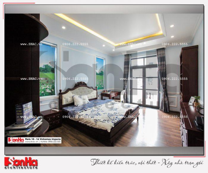 Hình ảnh thực tế một phòng ngủ của ngôi biệt thự sang trọng nội thất tiện nghi