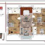 6 Mặt bằng công năng tầng 2 biệt thự tân cổ điển tại quảng ninh sh btp 0117