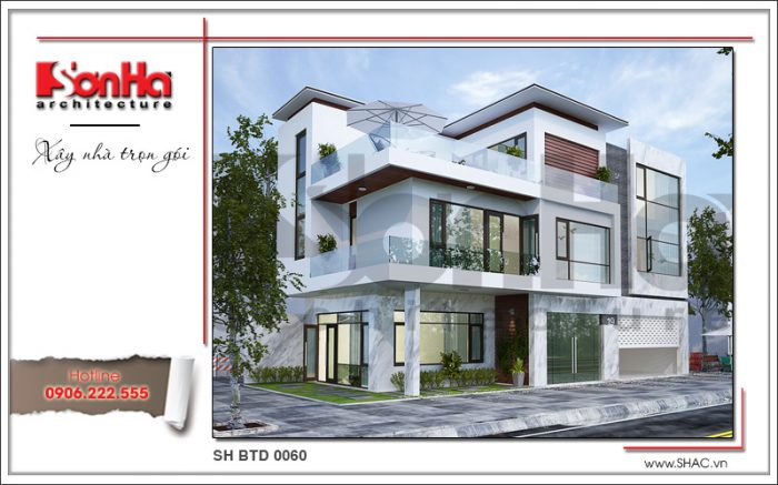 Biệt thự 3 tầng phong cách hiện đại trẻ trung và năng động diện tích 7,8mx15,4m
