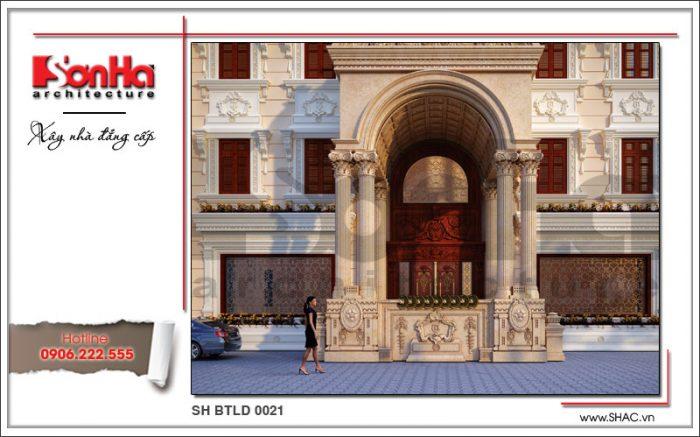 Cận cảnh đường nét thiết kế tinh tế của kiến trúc mặt tiền ngôi biệt thự phong cách lâu đài Pháp