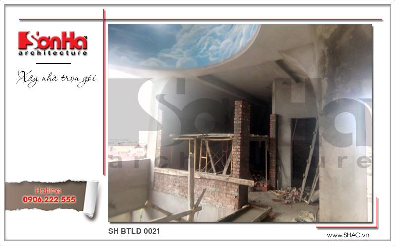 Xây nhà trọn gói công trình biệt thự cổ điển 4 tầng xa hoa tại Hà Nội – SH BTLD 0021 21
