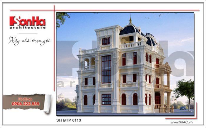 Kiến trúc của biệt thự lâu đài cổ điển 4 tầng tại Móng Cái rất được đầu tư thiết kế của SHAC