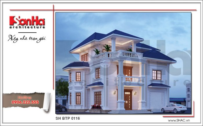 Kiến trúc của mẫu nhà biệt thự 3 tầng phong cách tân cổ điển thể hiện sự thẩm mỹ cao