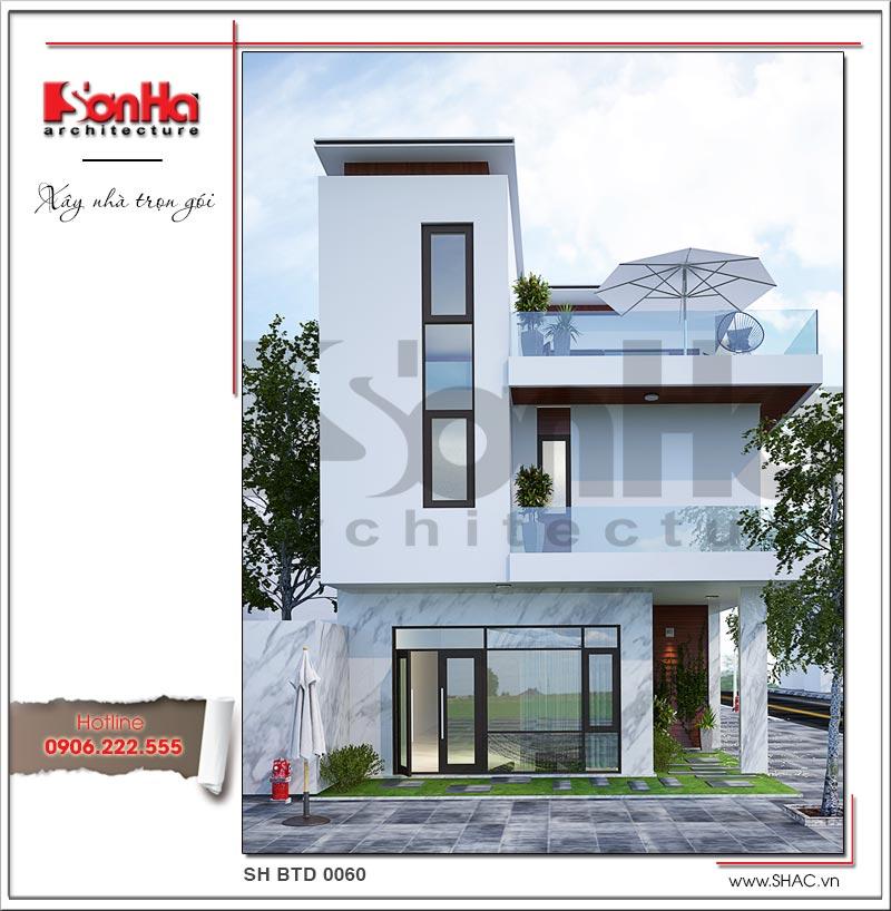 Kiến trúc mặt tiền hiện đại tinh tế qua từng đường nét của biệt thự 3 tầng tại Lạng Sơn