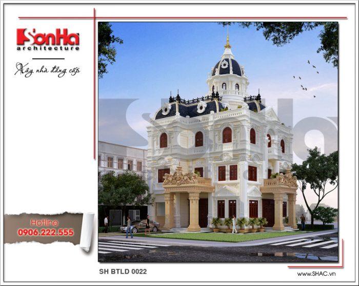 Kiến trúc ngoại thất mãn nhãn của mẫu thiết kế biệt thự cổ điển 3 tầng kiểu châu Âu tại Hà Nội